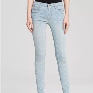 Hudson Light Blue Wash Cotton Polka Dot Nico jeans
